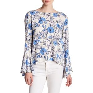 LUSH Floral Bell Sleeve Cream Periwinkle Blouse